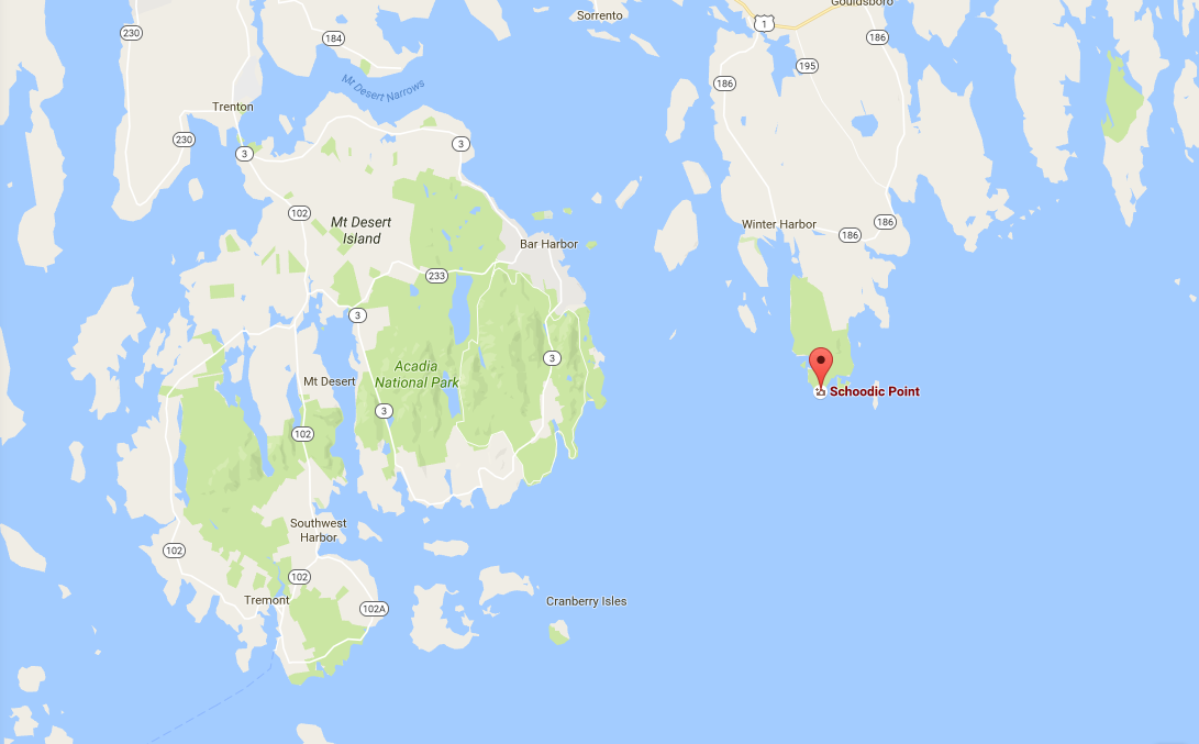Google Map of Mount Desert Island and Schootic Peninsula